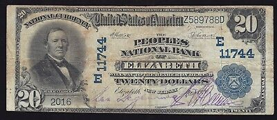 1902 $20 PB on Elizabeth, New Jersey - Circulated with nice stamped signatures