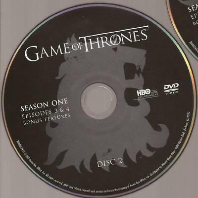 Game of Thrones HBO (DVD) First Season 1 Disc 2 Replacement Disc U.S. Issue!