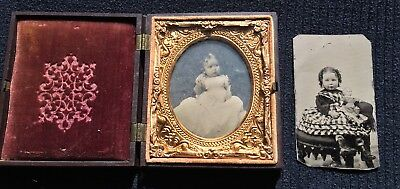 Ambrotype 1/6th Plate Little Girl In Dress + Girl With Doll Tintype Fireman Case