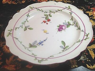 """Antique 18thC Meissen Porcelain Charger,/hand painted flowers & garland-EAC-13"""""""