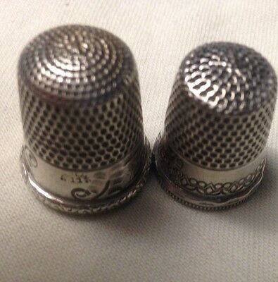 Two Vintage Simon Sterling Silver Thimbles-One is Cottage/ Sunrise Sizes 6&7