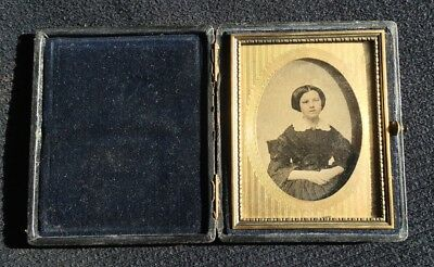 Antique Ambrotype 1/6th Plate Proper Seated Girl In Leather Covered Wood Case