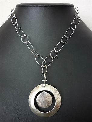 """Hammered STERLING SILVER Dangle PENDANT Link Chain TOGGLE NECKLACE 17.5"""""""