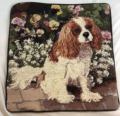"TWO Cavalier kING CHARLIES with Pansies 15""X15"" Velveteen Back w/ Zipper"