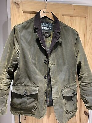 BARBOUR Lutz WAXED Jacket Olive, size Medium 100% Genuine In 10/10 Condition