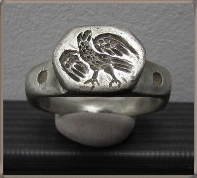** AQUILA - EAGLE **Ancient Silver Legionary Roman Ring ** RARE **