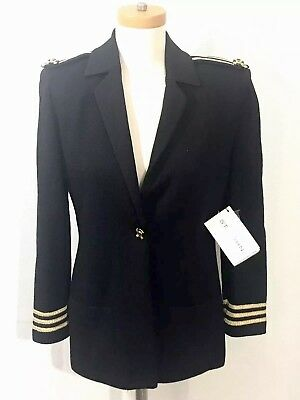 NWT Vtg St. John Marie Gray Womens sz 2 Sailor Black Gold Santana Knit Blazer