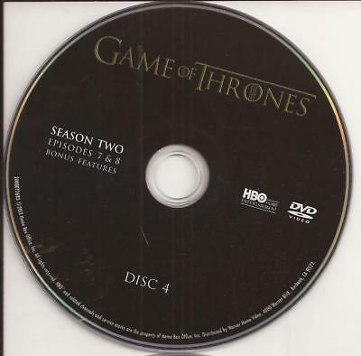Game of Thrones HBO (DVD) Second Season 2 Disc 4 Replacement Disc U.S. Issue!