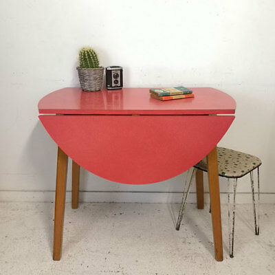 Vintage Mid Century Red Circular Drop Leaf Formica Kitchen Dining Table