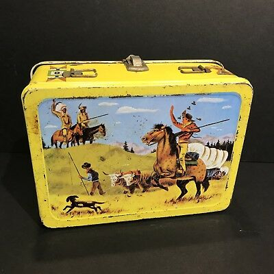 Vintage 1959 PATHFINDER Cowboy and Indian metal lunch box. Rare!