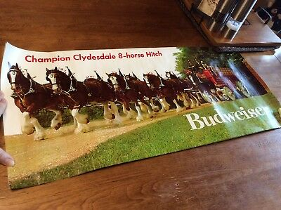 """Budweiser Beer Champion Clydesdales 8 Horse Hitching  Poster Print 14"""" X 30"""""""