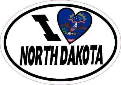 5x3.5 Oval I Love North Dakota Sticker Luggage Car Window Bumper Cup Flag Decal