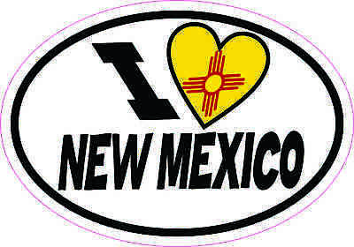 5x3.5 Oval I Love New Mexico Sticker Luggage Car Window Bumper Cup Flag Decal