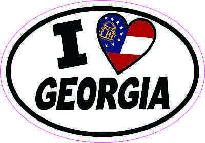 5x3.5 Oval I Love Georgia Sticker Luggage Car Window Bumper Cup Flag Decal Sign
