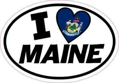5x3.5 Oval I Love Maine Sticker Flag Luggage Car Window Bumper Cup Tumbler Decal