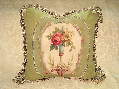Beautiful 19Th C  Antique French Floral Aubusson Tapestry Pillow #1