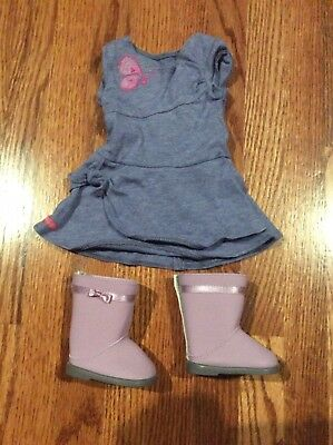 EUC American Girl Doll Pleasant Co Blue Butterfly Twist Dress With Purple Boots