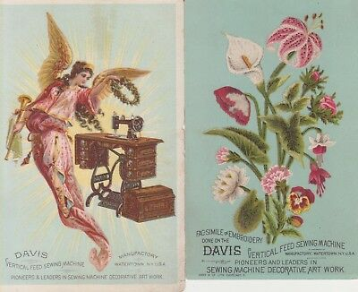 Lot of 2 Victorian Trade Cards~DAVIS SEWING MACHINE~Angel~Embroidery~Hanover, PA