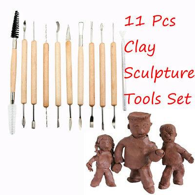 Steel Wood Handle Wax Carving Polymer Modeling Clay Sculpting Set Pottery Tools