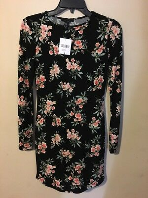 7d970aae0 NWT Forever 21 Women's Small Short Black/Light Pink Floral Career Knit Dress