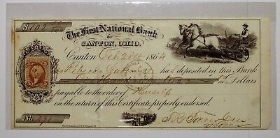 1864 First National Bank of Canton Ohio Bank Check 5 Cent Washington Stamp Horse
