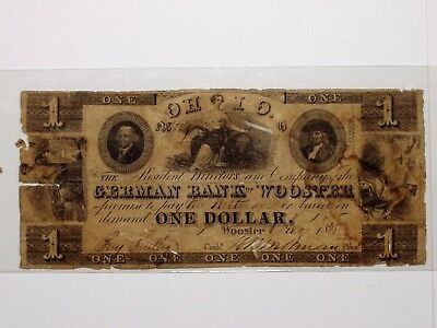 Rare 1838 $1 The German Bank of Wooster, Ohio Jefferson-Ceres-Penn-Liberty-Hebe