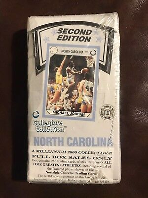 1990 Collegiate Collection UNC 36 Pack Wax Box - 288 Cards - MICHAEL JORDAN RC!