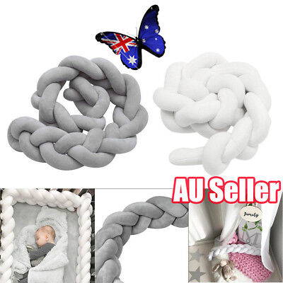 2/3M Infant Baby Plush Crib Bumper Bedding Bed Cot Braid Pillow Pad Protector JO
