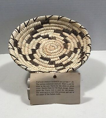Papago Basket By The Papago Indians of So Arizona with Tag From Quijotoa TP