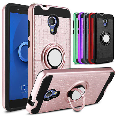 For Alcatel TCL LX A502DL Case Shockproof Ring Holder Kickstand Hard Phone Cover