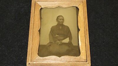 1201 1870s Japan Old Photo Ambrotype of Japanese Old Woman with Folding Fan w