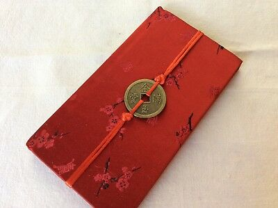Beautiful New Chinese Red Silk Brocade Address Book!