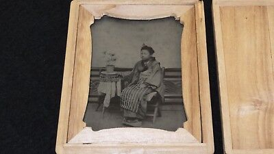 1202 1880s Japan Old Photo Ambrotype of Japanese Young Girl in Kimono w Apron