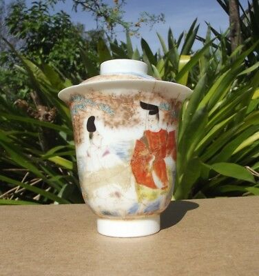 Antique Chinese Porcelain Lidded Cup Hand Painted + Signed