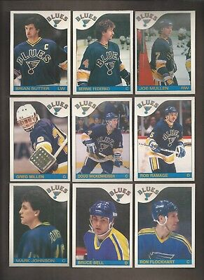 1985-86💎OPC ST Louis BLUES Team Set (9)💎O Pee Chee NM-MT Hockey Cards