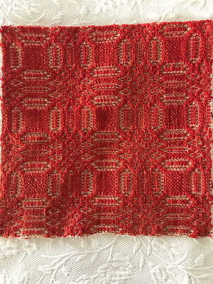 Antique Red and Off White Woven Coverlet Piece Primitive