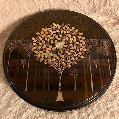 Vintage Handcrafted Otagiri Japan Round Snack Tray.Box with Lid Trees In Gold