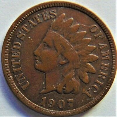 1907 UNITED STATES, Indian Head Cent grading FINE.