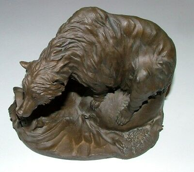 1981 National Wildlife Federation Cold Cast Bronze Bear With Fish Artist Chapel