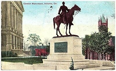 1910 Postcard view General Gordon Confederate Monument Atlanta GA mailed
