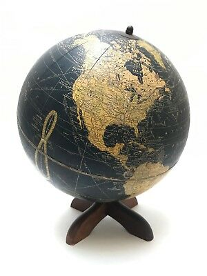 "BLACK Globe 10.5"" (BL4), Pre-1950s Crams w/MCM Wood Base"