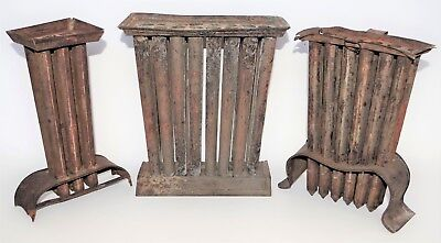 Antique 1800s LOT OF 3 PRIMITIVE TIN TAPER CANDLE MOLDS Rare 6 12 24 Hole Tube