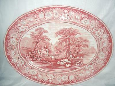 "Antique 20 1/2"" Wr Midwinter Rural England Red & White Transferware Platter"