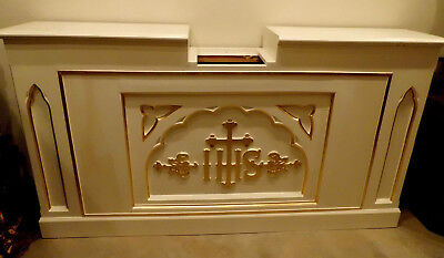 """Antique Large Church Carved Wood Gothic Altar Cabinet Architectural Salvage 84"""""""