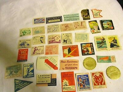 35 Vintage Stickers/labels Of Advertising,exhibitions, Festivals, Much More
