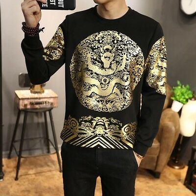 Men 2018 Floral gold Dragon Shirt long Sleeve Leisure Tops Chinese Tee Chic Coat