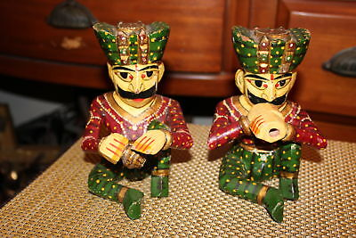 Vintage India Wood Carved Musician Figures-Pair-Drums Flute-Colorful