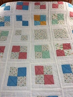 """Vintage  Handmade Four Patch On Crisp White Quilt Hand Stitched 94"""" X 95"""""""