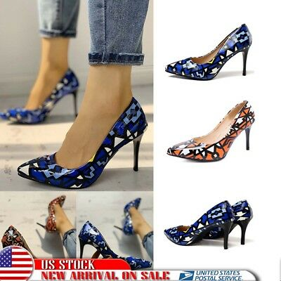 1b82cc518b53e US Women High Stiletto Heels Geometric Ladies Pointy Toe Slip On Pump Shoes  Size