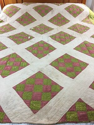 """ANTIQUE HANDMADE 1880s NINE PATCH ON POINT QUILT 65"""" X 76"""""""